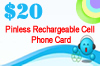 Pinless Rechargeable Cell Phone Card
